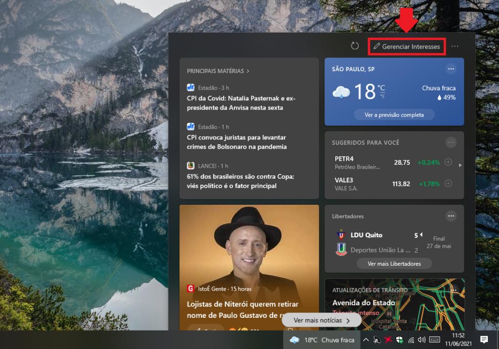 """Saiba porquê personalizar ou ocultar o novo widget """"Notícias e interesses"""" do Windows 10"""
